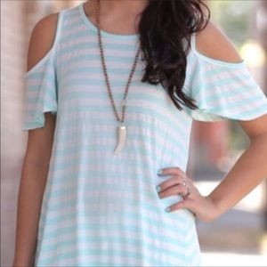 Infinity Raine Tops - Striped Mint Cold Shoulder Tunic